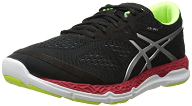 ASICS Men's 33-FA Running Shoe, Onyx/Flash Yellow/Chinese Red,