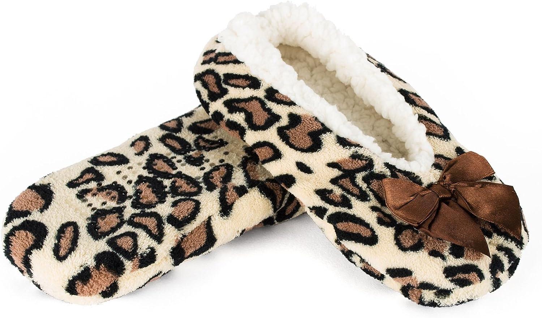 Octave® Womens Soft and Cosy Sherpa Animal Printed Ballerina Slipper Socks