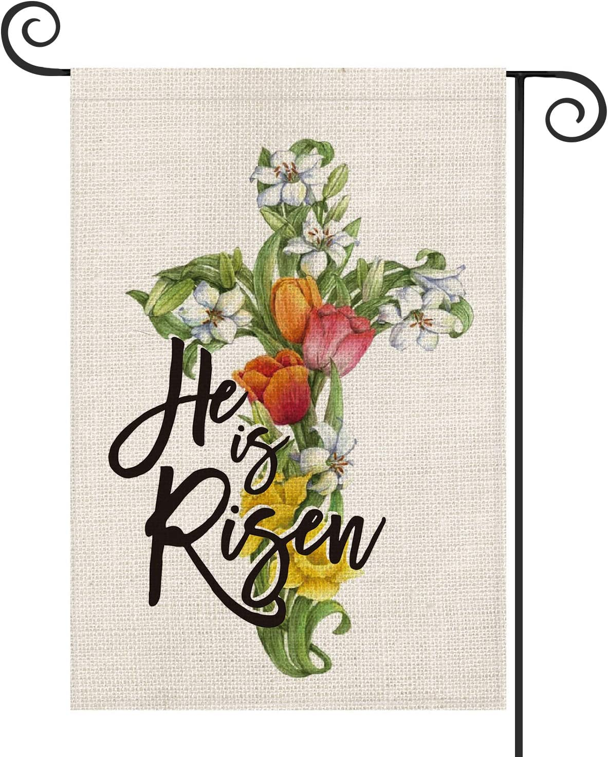 AVOIN He is Risen Easter Garden Flag Vertical Double Sized, Tulips Lily Cross Yard Outdoor Decoration 12.5 x 18 Inch
