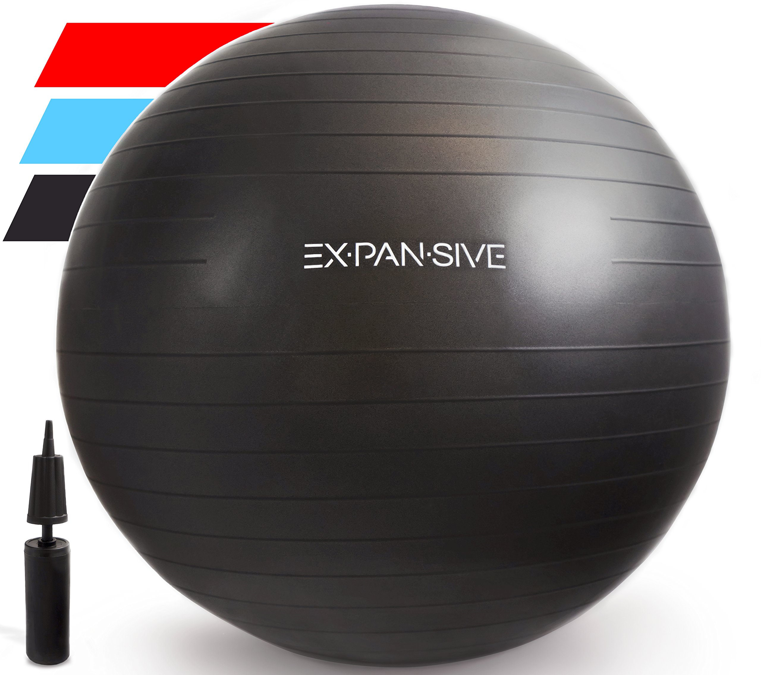 Expansive Living Anti Burst Exercise Ball (Black, 55cm) -2,000lbs STATIC STRENGTH STABILITY, PROFESSIONAL GRADE. Balance Ball | Physio Ball | Swiss Ball | Yoga Ball | Birthing Ball | Office Ball Chair