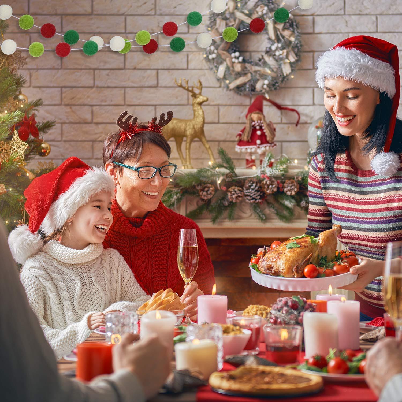 2 St/ück Weihnachten Filz Ball Pom Pom Girlanden Bunte Filz Girlande 9,8 Fu/ß Weihnachten Girlande Banner f/ür Party Zuhause Dekoration