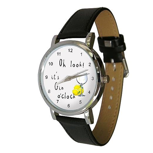 Gin o clock diseño reloj con una auténtica piel strap. ideal para cualquier amante