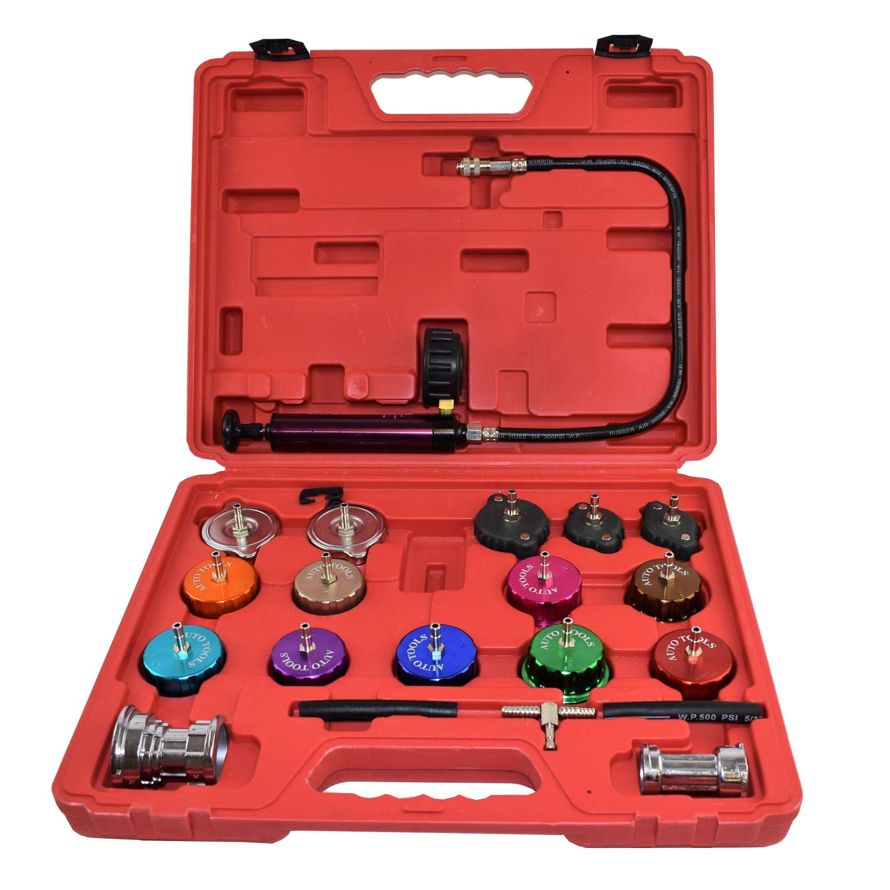 AB Tools-US Pro Master Cooling System Detector and Radiator Cap Pressure Tester Temperature Kit