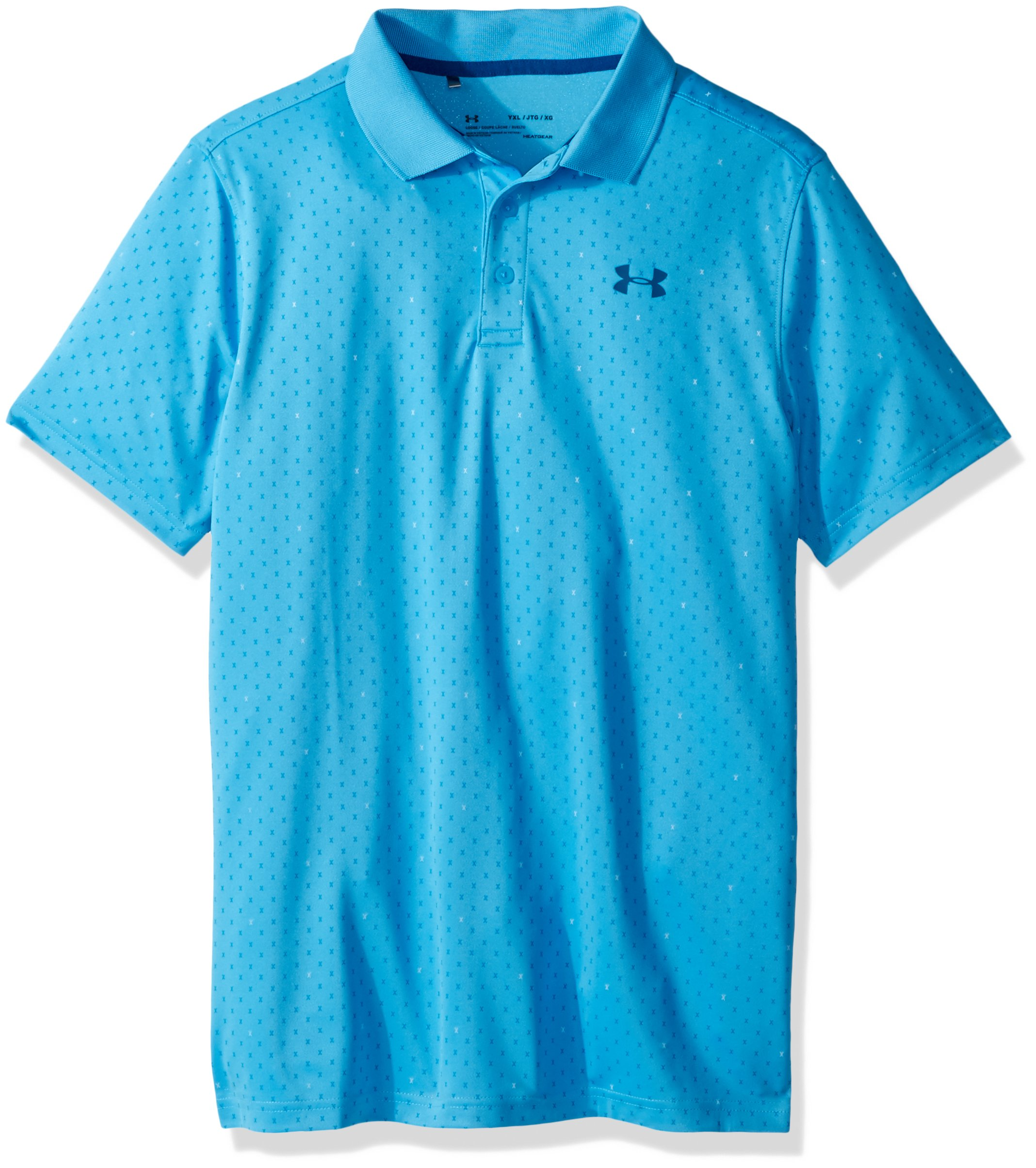 Under Armour Boys' Performance Novelty Polo, Canoe Blue (713)/Moroccan Blue, Youth Large