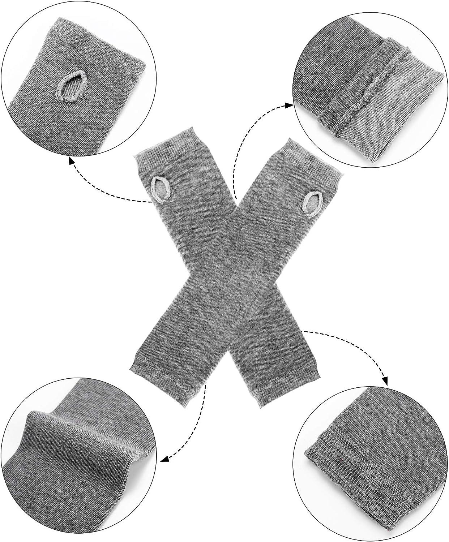 4 Pairs Long Fingerless Gloves Warmer Thumbhole Elbow Length Gloves for Women