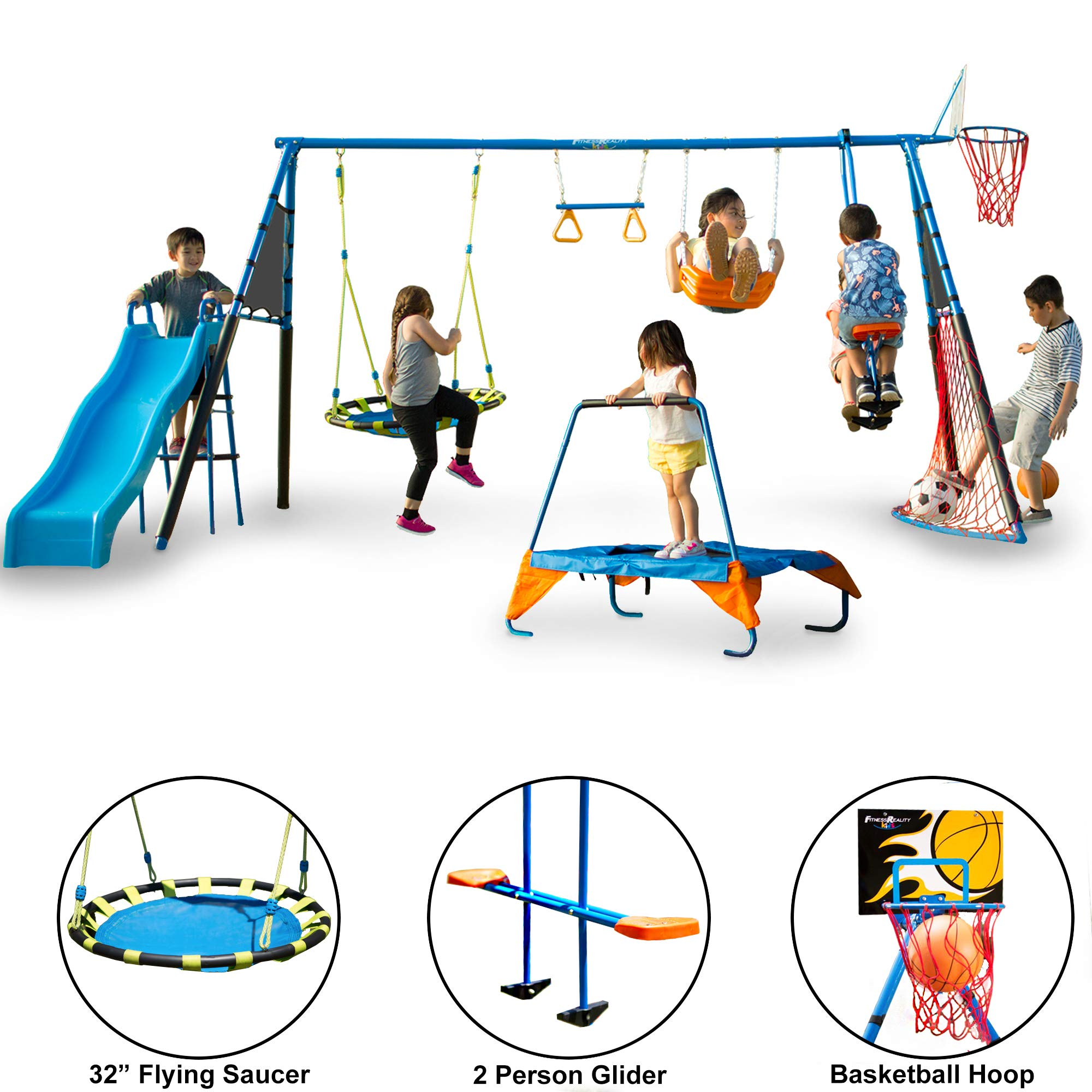 FITNESS REALITY KIDS 'The Ultimate' 8 Station Sports Series Metal Swing Set by FITNESS REALITY KIDS (Image #1)