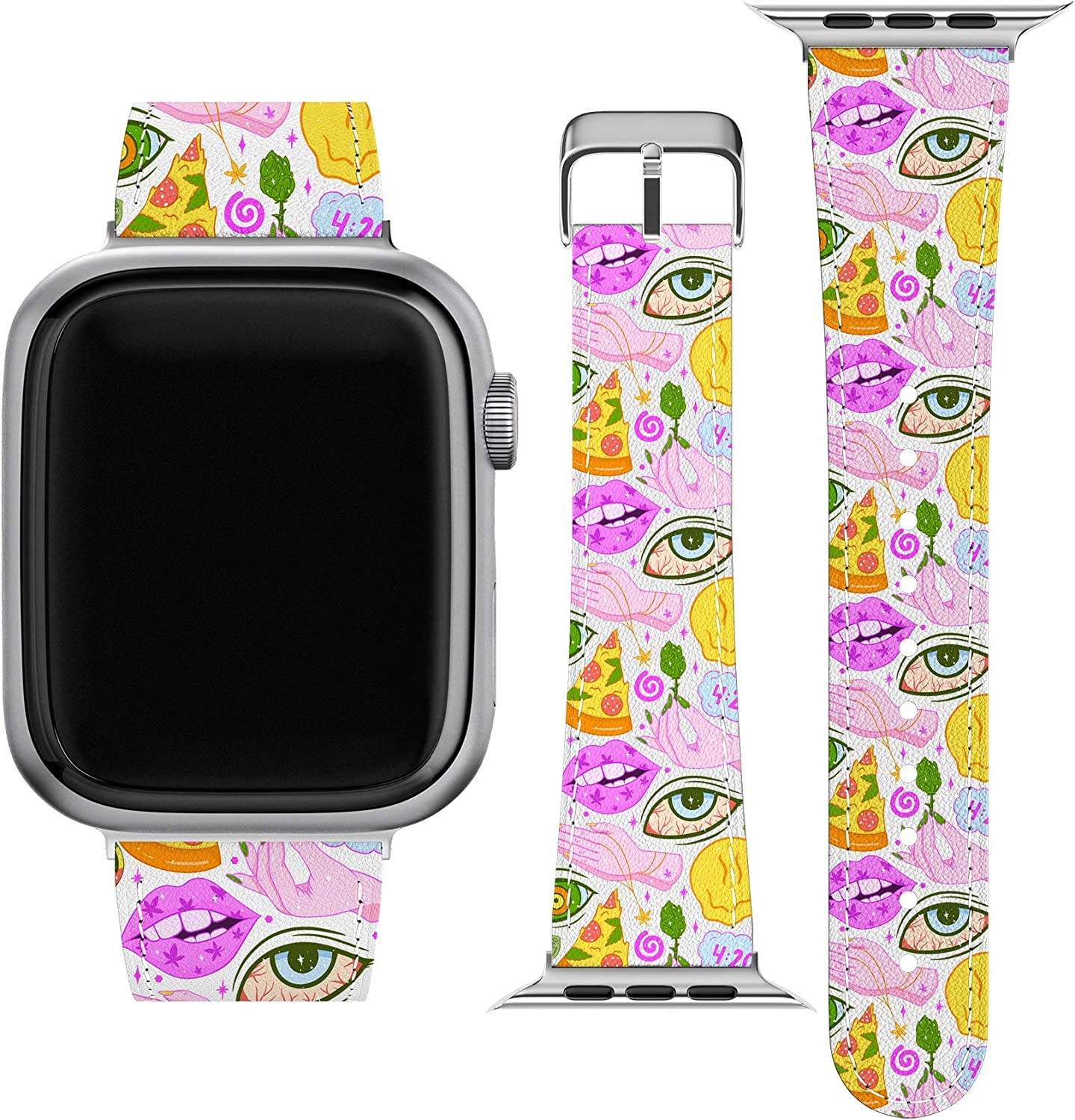 Lex Altern Band Compatible with Apple Watch Series 6 SE 5 4 3 2 1 38mm 40mm 42mm 44mm Thin Weed Pizza Trippy Marijuana Leaf Durable Replacement Strap for iWatch Stylish Cool Smoking Wristband wh433