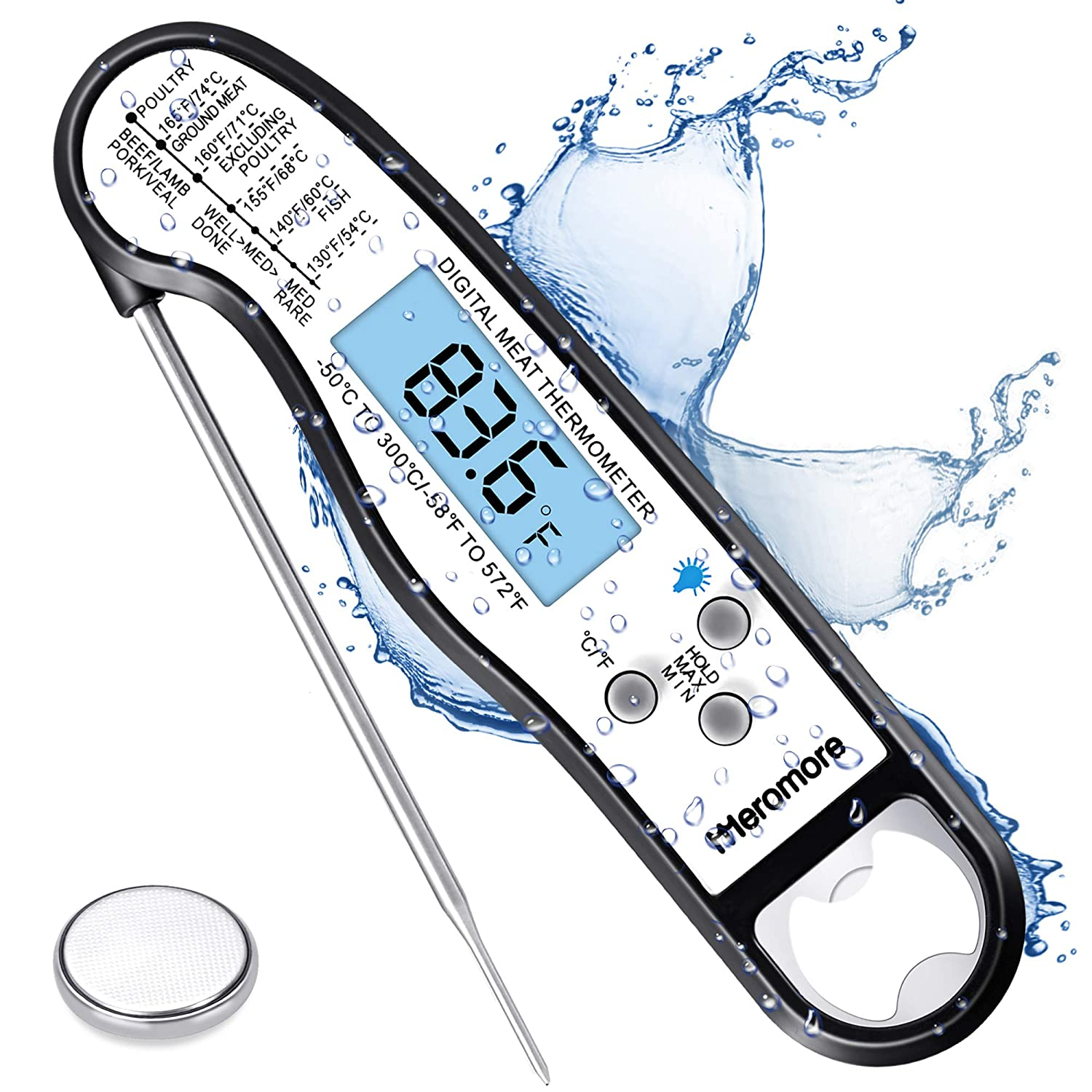 Meromore Digital Instant Read Meat Thermometer, Waterproof Ultra Fast Digital Cooking Thermometer with Backlight LCD & Calibration Food Thermometer Probe for Kitchen, BBQ, Grill