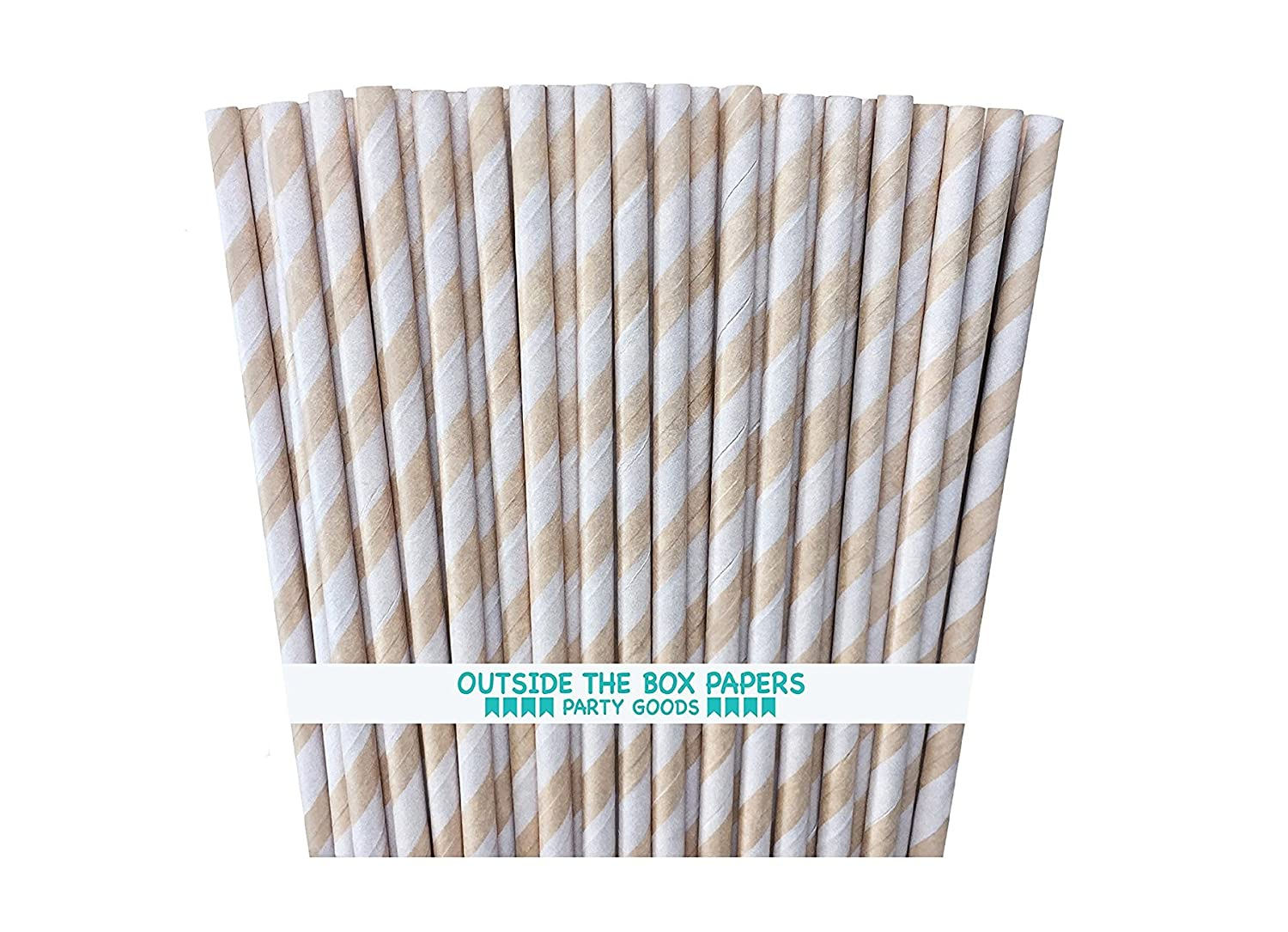Outside the Box Papers Kraft Brown Striped Paper Straws 7.75 Inches 75 Pack Kraft Brown STR-0076