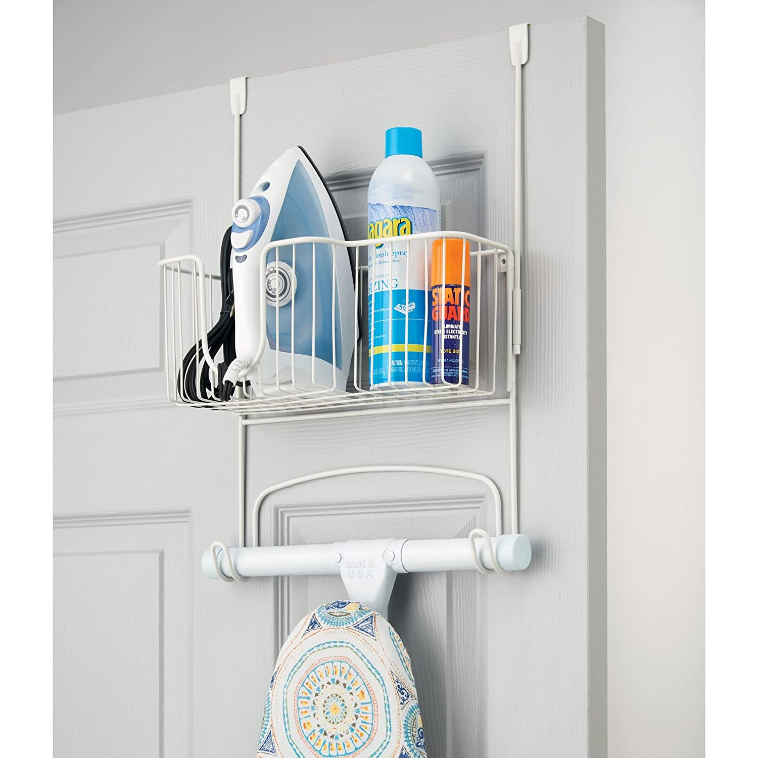 MDesign Over The Door Ironing Board Hanger   Steel Ironing Board Rack For  Easy Organisation   Includes Basket For Iron ...