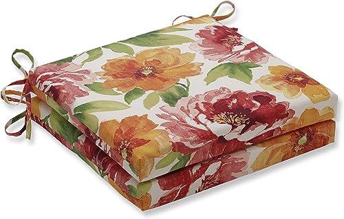 Pillow Perfect Outdoor Indoor Muree Primrose Squared Corners Seat Cushion 20x20x3 Set of 2 ,Orange