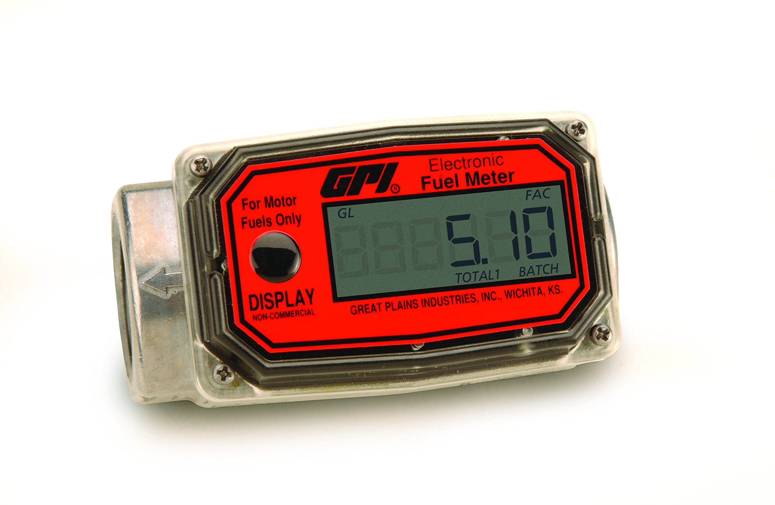 GPI 113255-1, 01A31GM Aluminum Turbine Fuel Flowmeter with Digital LCD Display, 3-30 GPM, 1-Inch FNPT Inlet/Outlet, 0.75-Inch Reducer Bushings
