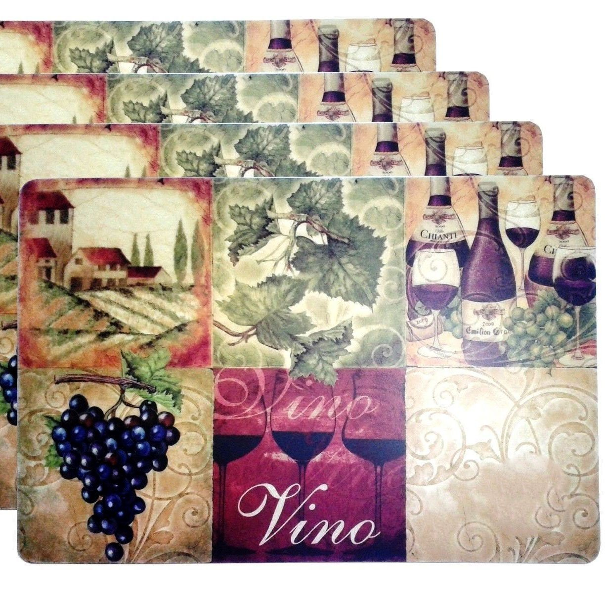 "Unique & Custom {12'' x 18'' Inch} Set Pack of 4 Rectangle ""Non-Slip Grip Texture"" Large Table Placemats Made of Vinyl w/ Foam Back & Grape Vine Wine Vineyard Design [Colorful Tan, Purple & Green]"