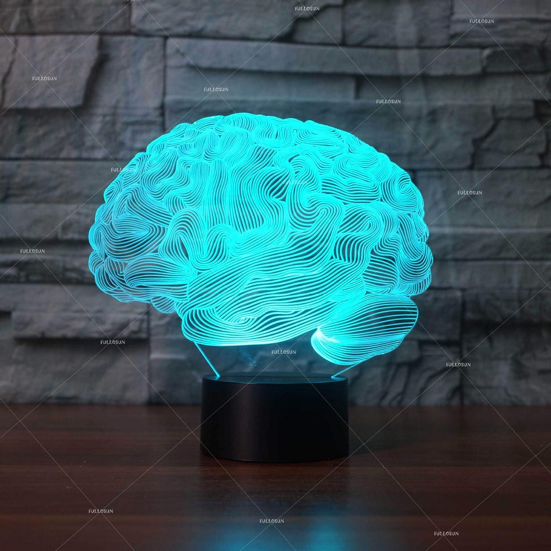YUN Light Night Light YUN Lámpara 3D Illusion Led Luz De La Noche con 7 Colores Intermitentes & Interruptor Tactil USB Alimentado Lámpara De Escritorio del Dormitorio para Regalos Niños, Modelado Cerebral 8cd9f2