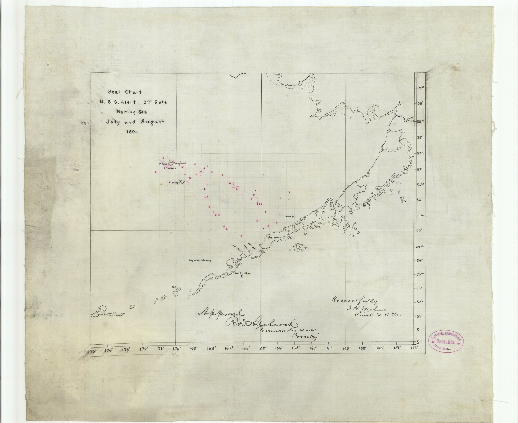Vintography 8 x 12 inch 1891 US Old Nautical map Drawing Chart Seal Chart U. S. S. Alert 3rd Rate Bering Sea July August 1891 from NOAA x5086