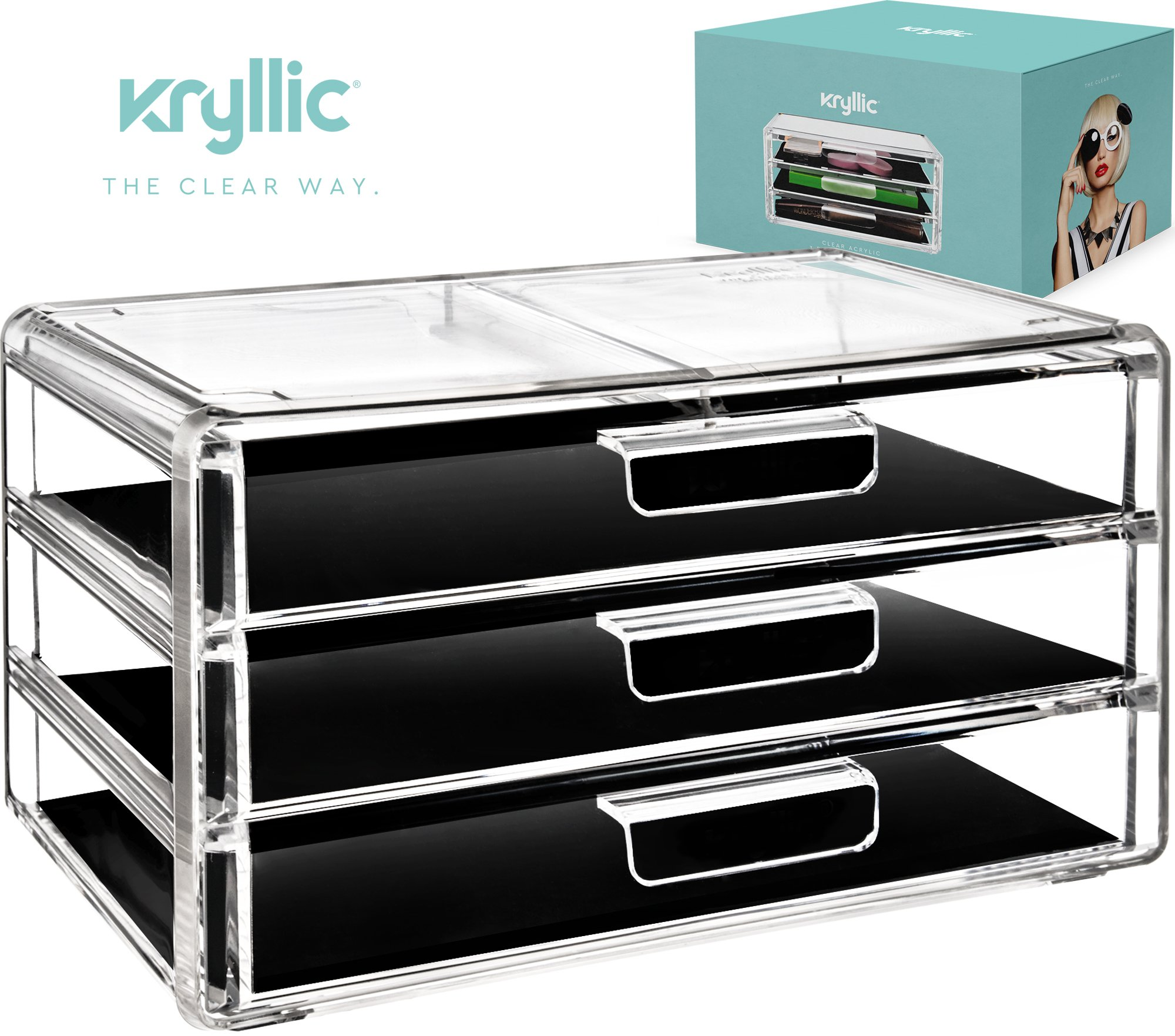 Acrylic Makeup Jewelry Cosmetic Organizer - Clear Acrylic Display Storage for Jewelry Makeup Pallets & all Bathroom Accessories keep your Vanity & Dresser Organized with set of 3 Drawers