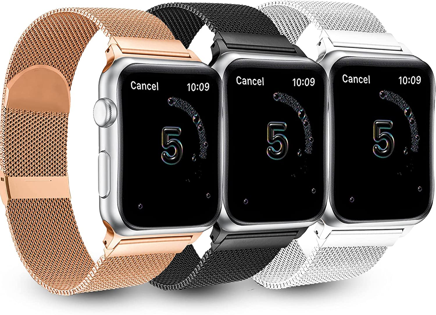 3 PACK Magnetic Watch Bands Compatible with apple Watch 38mm 40mm 42 mm 44mm ,Adjustable Stainless Steel Mesh Metal Strap Replacement Band for iWatch Series 6 5 4 3 2 1 SE