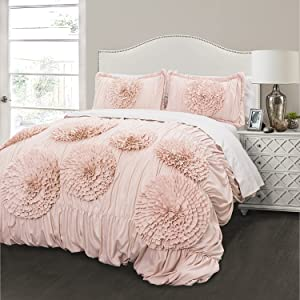 Lush Decor Serena Comforter Pink Blush Ruched Flower 2 Piece Set, Twin XL,