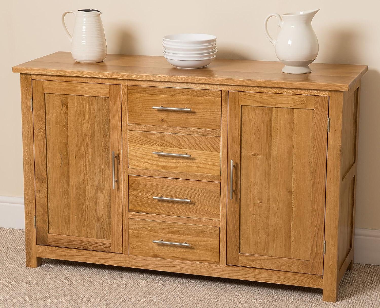 Oslo Solid Oak Large Sideboard Cabinet, (130 L x 43 W x 82 H cm ...