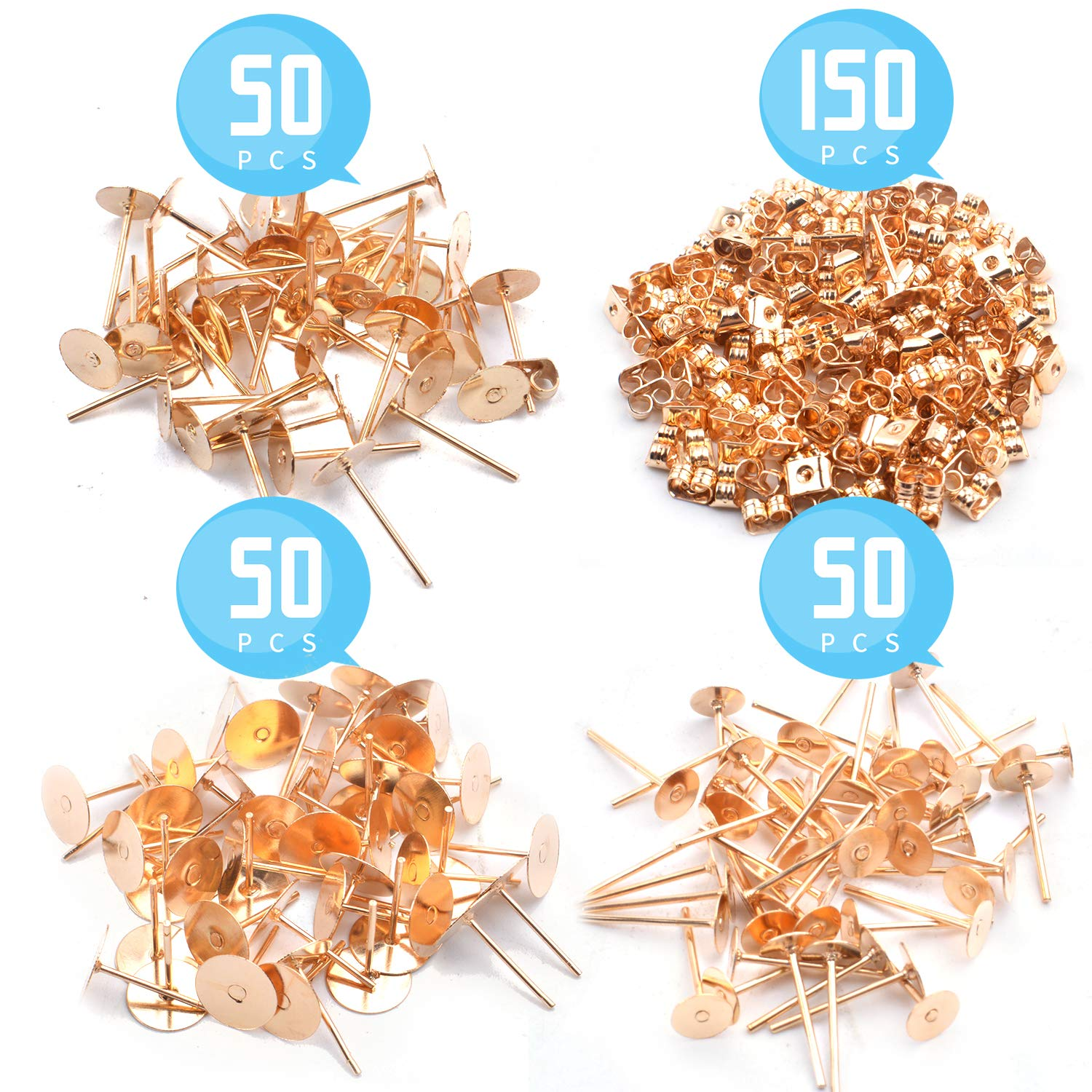 3 Sizes 150 Pieces Golden Flat Pad Earrings Posts Round Blank Earring Stud and 150 Pieces Butterfly Earrings Safety Backs for Earring Making