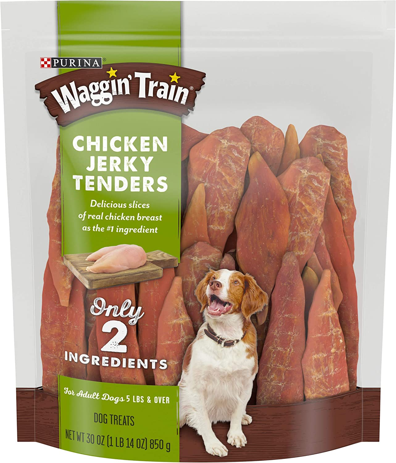 Purina Waggin' Train Limited Ingredient, Grain Free Dog Treat, Chicken Jerky Tenders - 30 oz. Pouch (00807020171198)