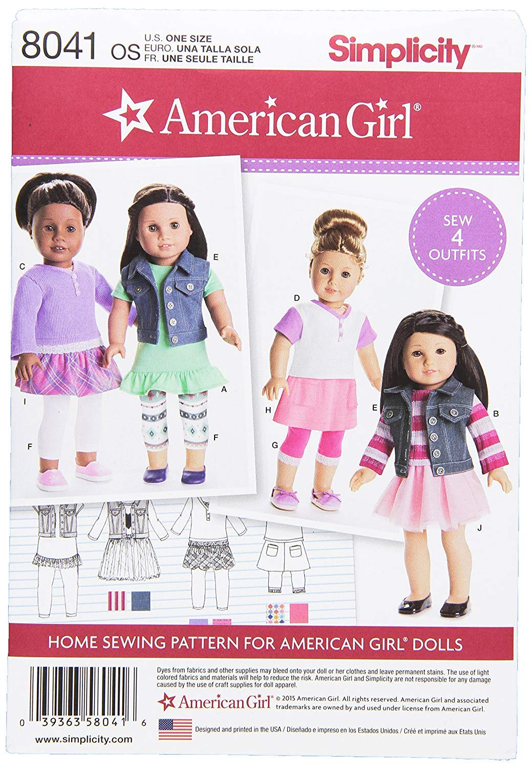 Amazon.com: Simplicity Patterns American Girl Doll Clothes for 18 ...