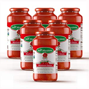 Marinara Pasta Sauce 100% Product of Italy 24 Ounce Jars - 100% Genuine Ingredients With San Marzano Tomatoes (Pack of 6)