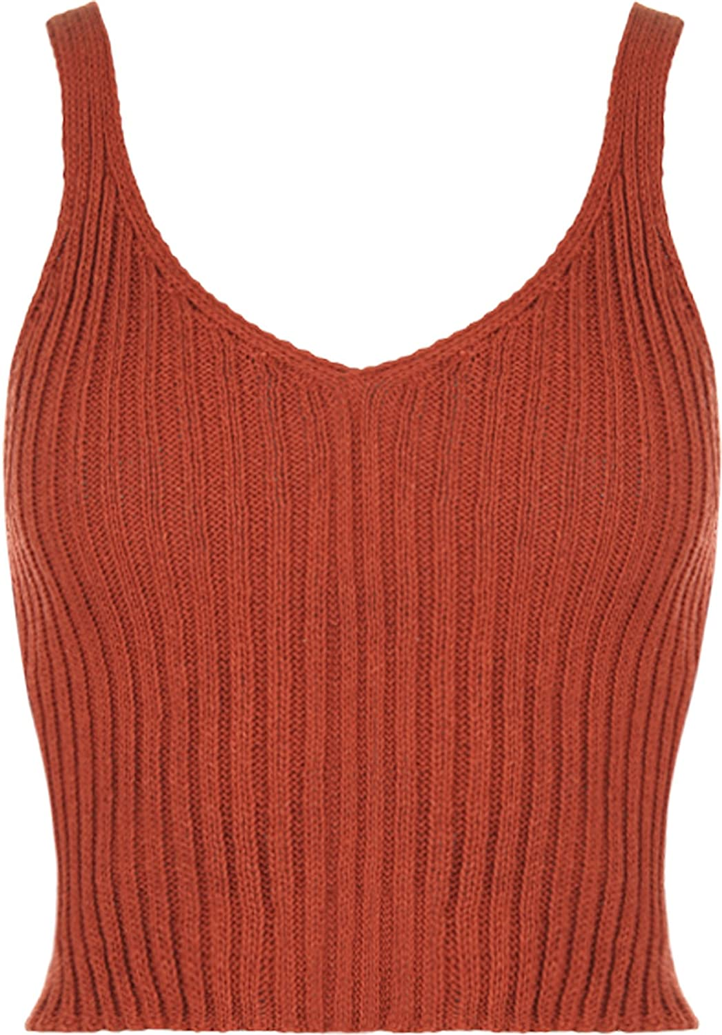 fae02026f5d WearAll Women s Stretch Sleeveless Ribbed Knitted Crop Short Vest Top 8-14  72196