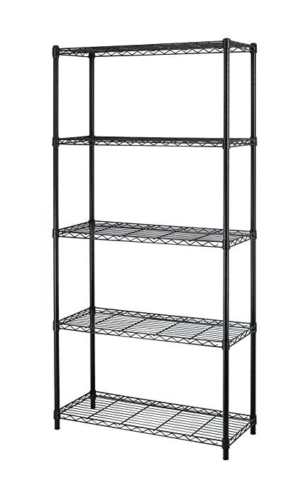 Metal Wire Shelves | Amazon Com Paylesshere Black 5 Shelf Adjustable Steel Shelving