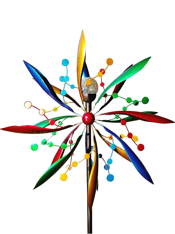 ファンシーGardens 7足Tall Festive Flower Wind Spinner withソーラーボール – - Decorative Lawnオーナメント風ミル – ユニークなアウトドア、芝生庭飾り – Solar Wind Spinner B073X55JSZ