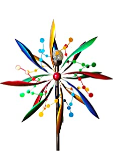 Fancy Gardens 7 foot tall Festive Flower Wind Spinner with Solar Ball -- Decorative Lawn Ornament Wind Mill - Unique Outdoor Lawn and Garden Décor - Solar wind spinner