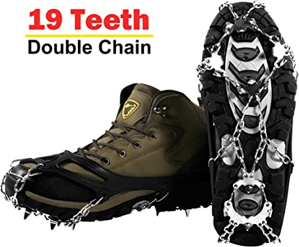 1 Pair 5 Teeth Silicone Ice Snow Crampons Anti-skid Boot Shoe Covers Spike Cleats Ice Gripper for Outdoor Climbing Hiking Walking Black