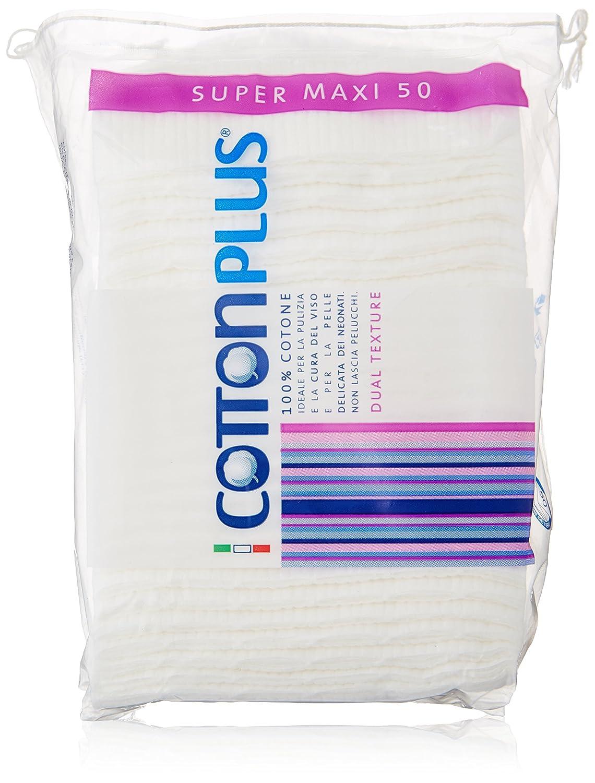 Cotton Plus - Super Maxi, Ideale per la Pulizia del Viso - 50 pezzi Turati Idrofilo