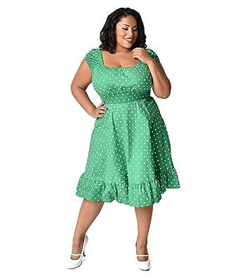 Unique Vintage 1940s Style Plus Size Kelly Green & White Dot Cap ...