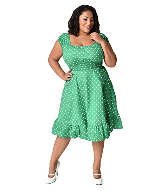 Unique Vintage 1940s Style Plus Size Kelly Green & White Dot ...
