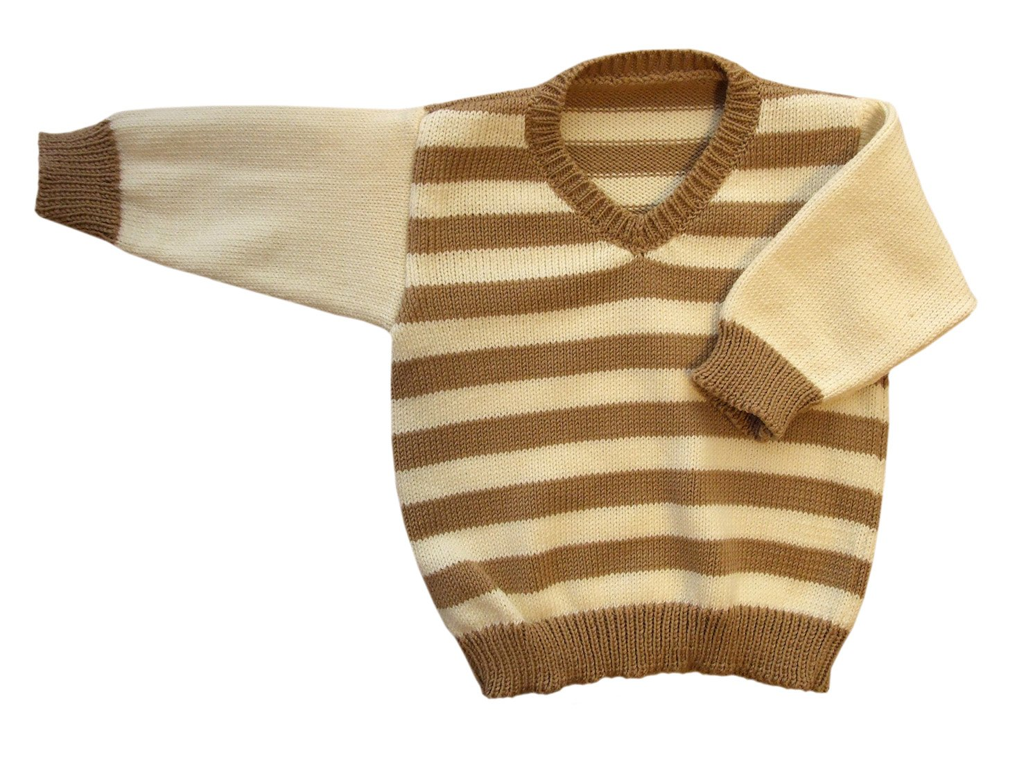 100% merino wool baby infant knitted sweater striped (1-6 mo, Brown-Natural white) by tevirP