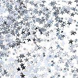 TecUnite Silver Star Confetti Glitter Star Table Confetti for Wedding Birthday Party Decoration, 60 Grams/2.1 Ounce