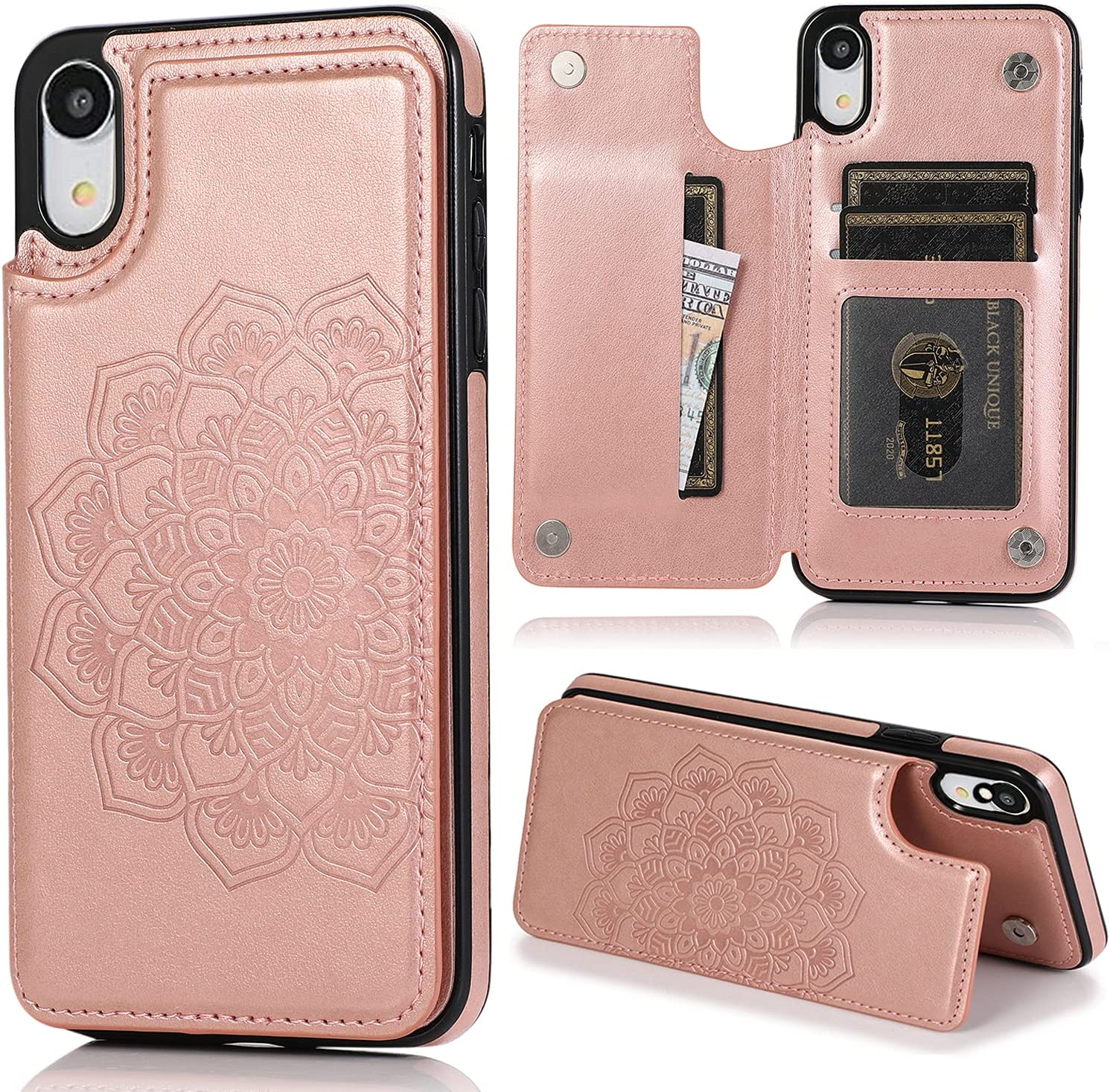 Pink Phone Case for iPhone XR with ID&Credit Card Holder Slots Pockets Wallet Back Cover Purse Flower Flip Cell iPhoneXR iPhone10R i Phonex 10XR 10R 10 R RX CR iPhoneXRcases Cases Soft Girls Rose Gold