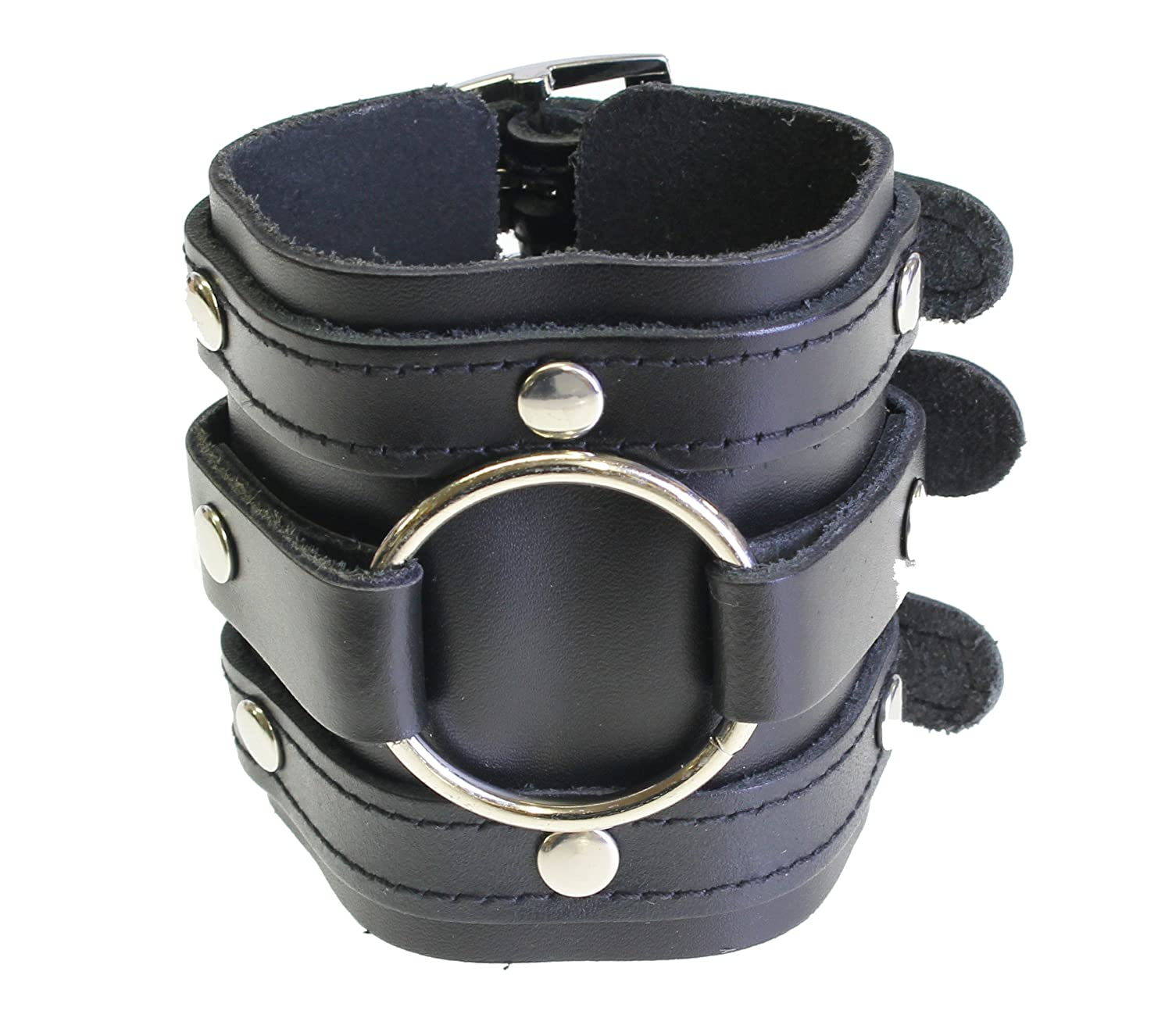 Pirate Wide Black Leather Triple Strap Wristband Cuff