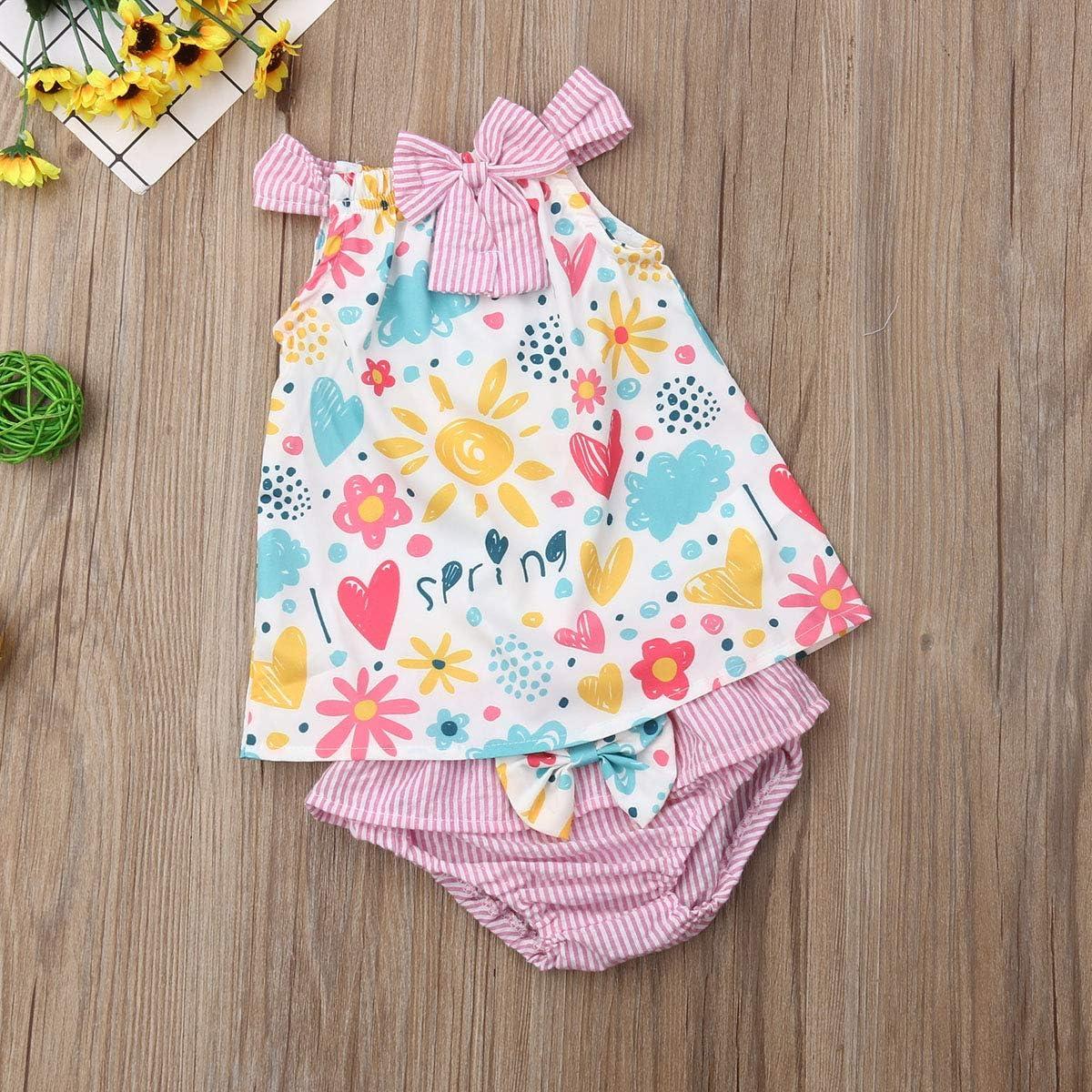 Newborn Baby Girl Bowknot Strap T-Shirt Tops Dress Pompom Shorts Pants Princess Outfits