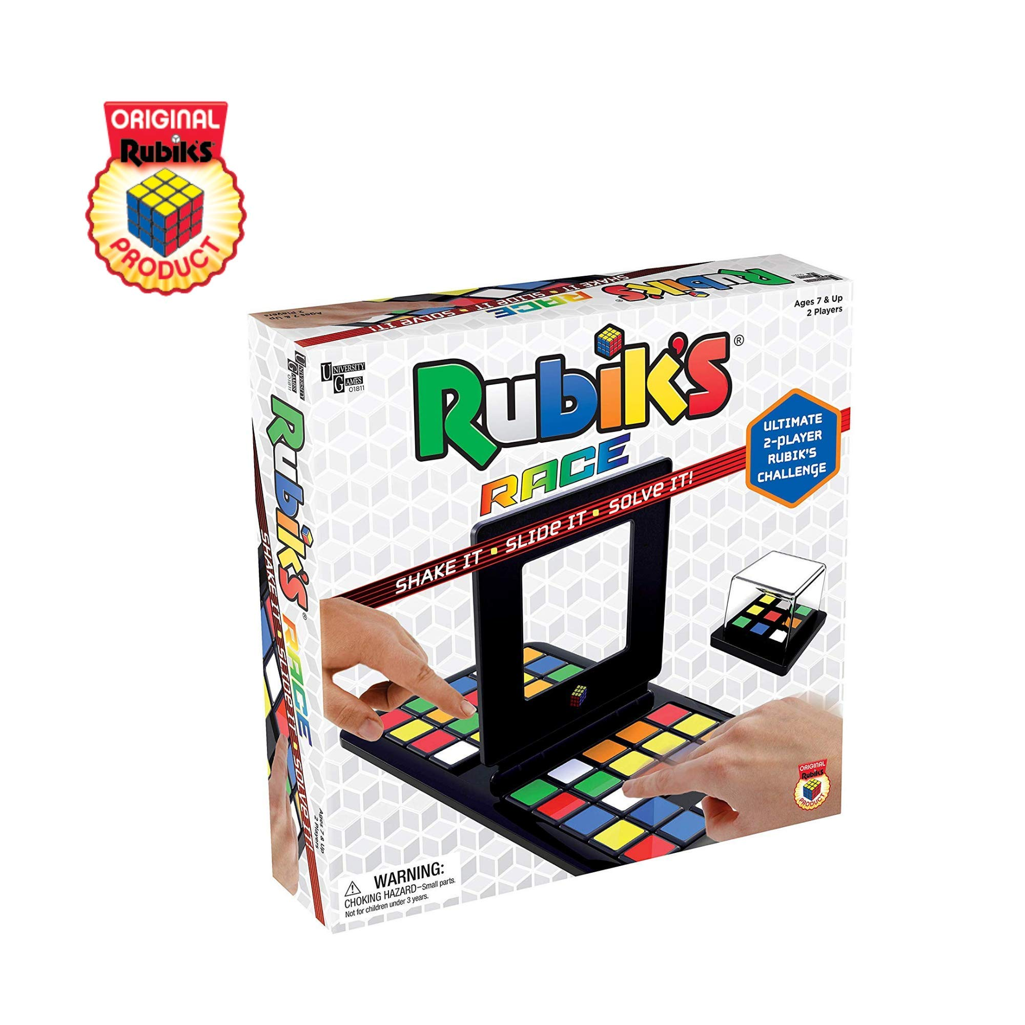 Rubik's Race Game, Head To Head Fast Paced Tile Shifting Board Game Based On The Rubiks Cubeboard, for Family, Adults and Kids Ages 7 and Up by University Games