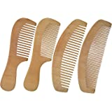 LCLHB 4PCS Natural Wooden Wide Tooth Beard and Hair Combs Set For Men and Women (6.5-7 Inch Length)