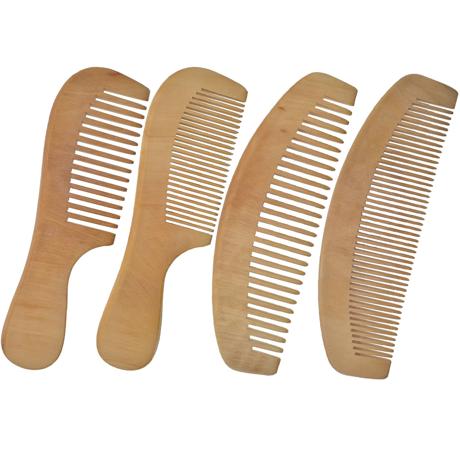 LCLHB 4PCS Natural Wooden Wide Tooth Beard and Hair Combs Set For Men and Women (6.5-7 Inch Length) by LCLHB