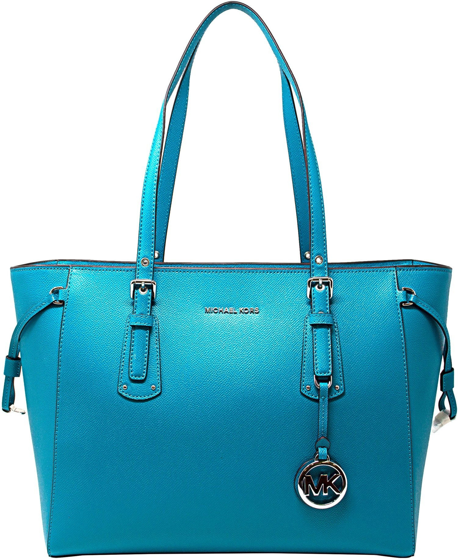 3e91559fba651 Galleon - MICHAEL Michael Kors Voyager Medium Multifunction Top-Zip Tote  (Tile Blue)