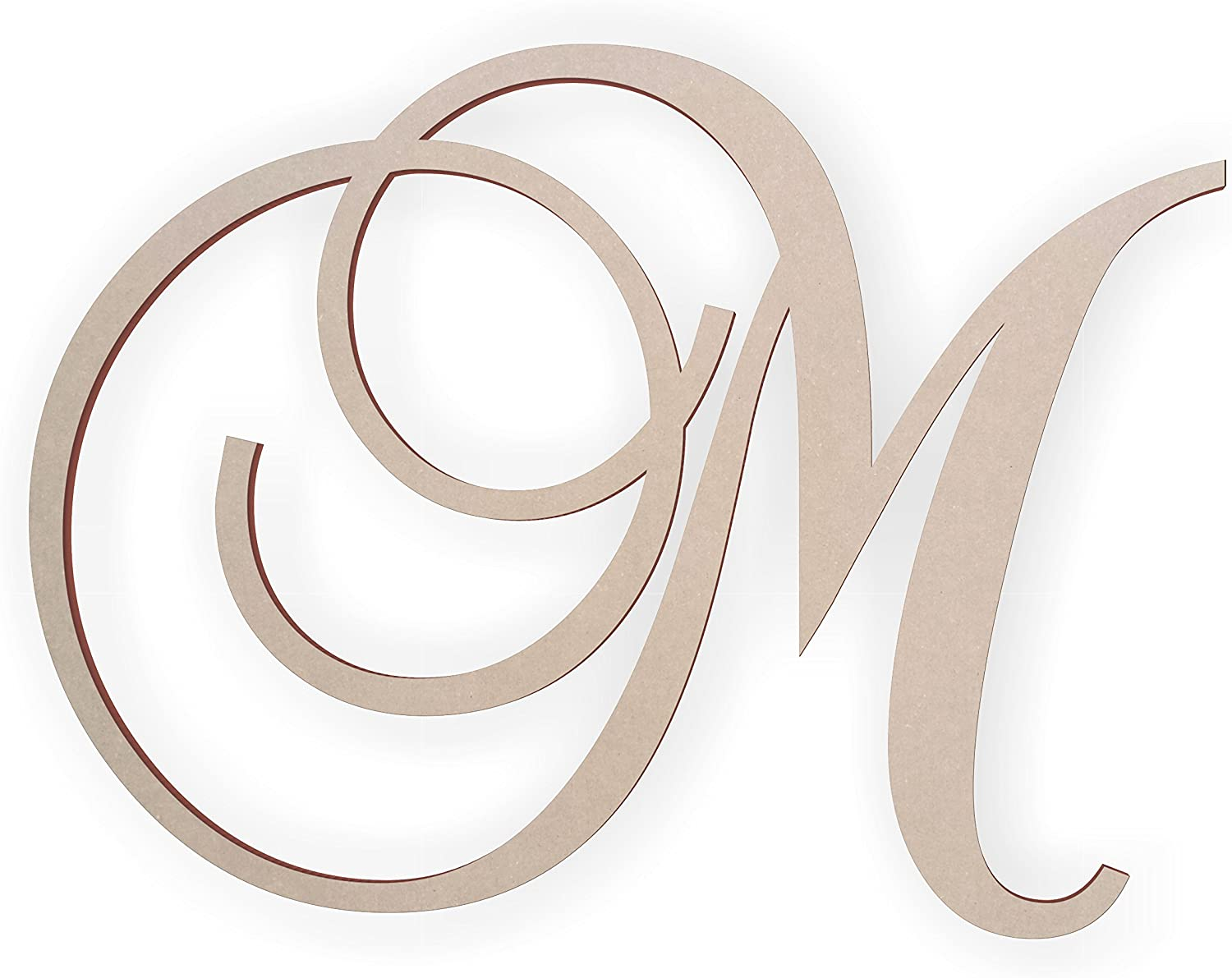 Jess and Jessica Wooden Letter M, Wooden Monogram Wall Hanging, Large Wooden Letters, Cursive Wood Letter