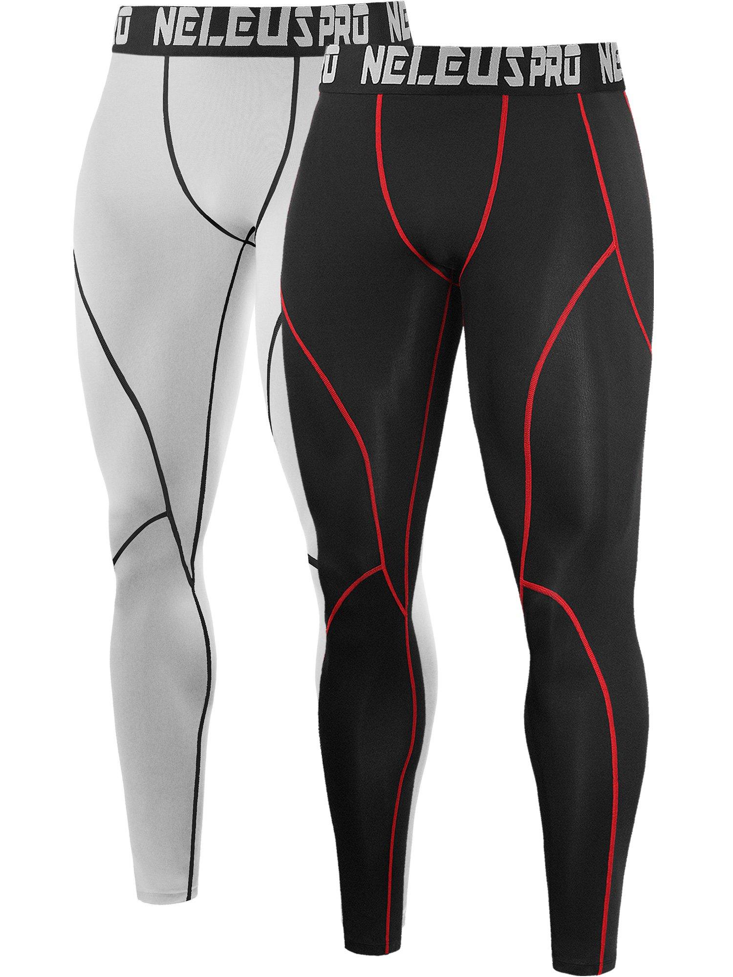 Neleus Men's 2 Pack Compression Pants Workout Running Tights Leggings,6013,Black (Red Stripe),White,US S,EU M