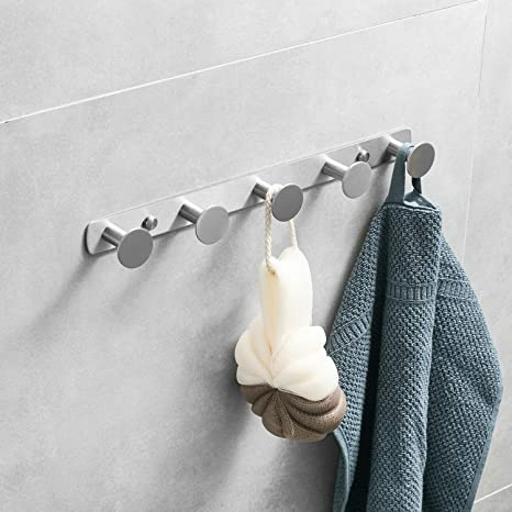 Perchero para toallas de baño, 5 ganchos, acero inoxidable ...