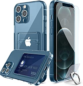 Compatible for iPhone 12 Pro Max Clear Card Case, with [Ring Holder Kickstand] [Lens Protector] [Screen Protector] Clear 360 Full Body Coverage Protective Shock-Absorbing Wallet Case with Card Holder