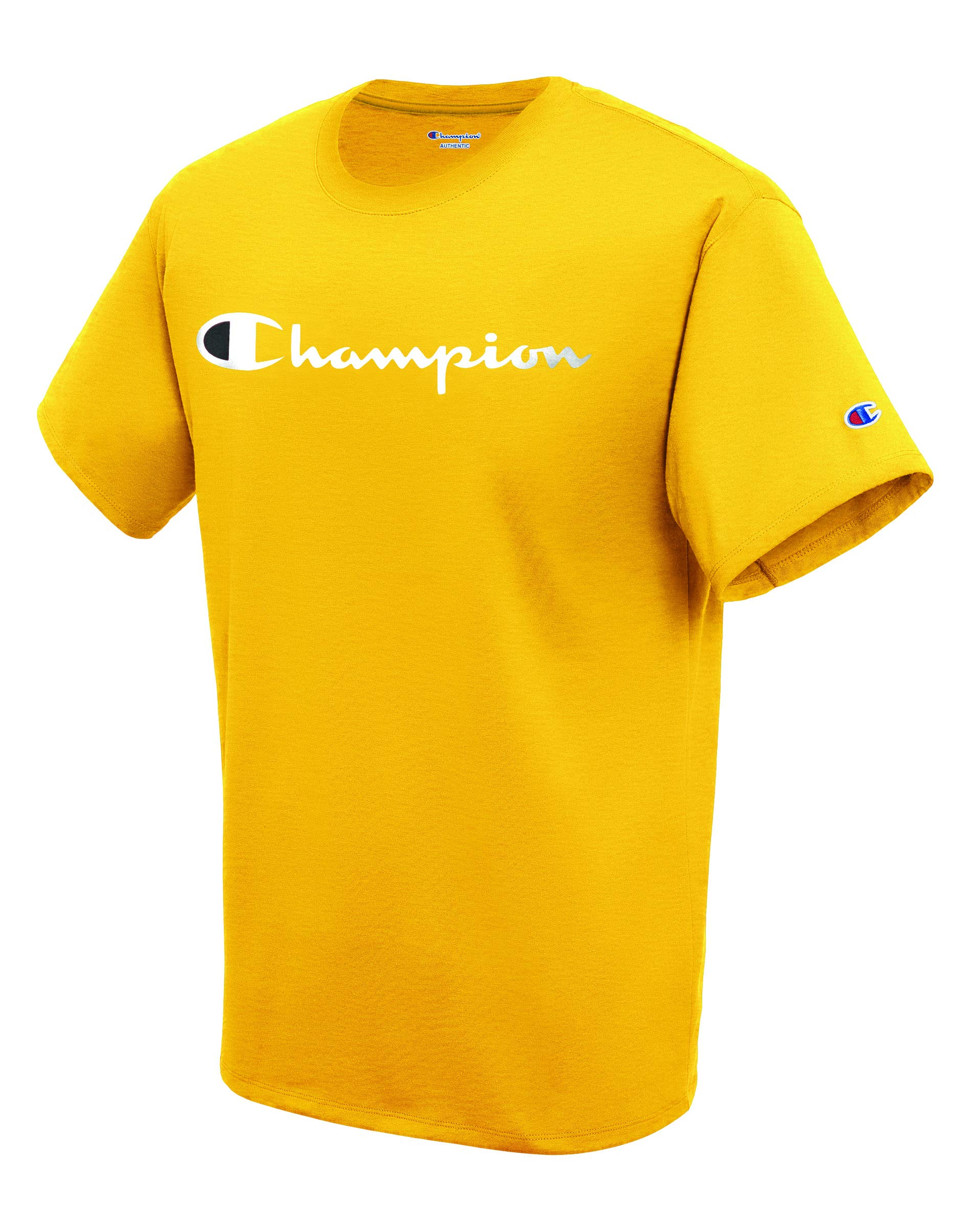 Champion Men's Classic Jersey Script T-Shirt, Team Gold, Small
