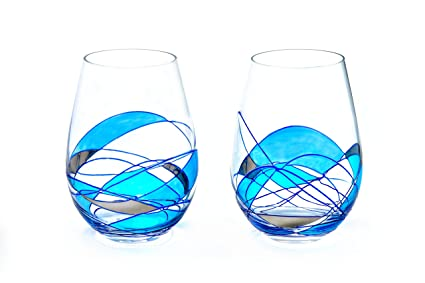 unique hand painted wine glasses dotted antoni barcelona stemless wine glass luxury blue line set unique hand painted gifts amazoncom